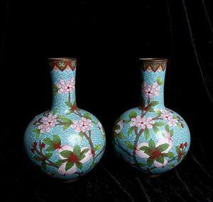 【齋】唐物 古陶磁器 清時代 景泰藍瓷器 成對 藍地花鳥紋天球瓶 置物擺件 蔵出 古董品 中