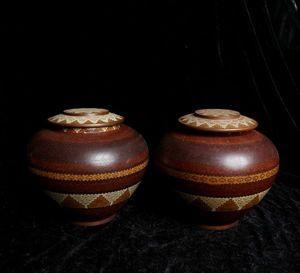 【齋】唐物 古陶磁器 清時代 琺琅彩瓷器 成對 合蓋 褐釉雲紋罐 置物擺件 蔵出 古董品 中