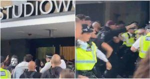 la bbc e' stata presa d'assalto dai manifestanti no vax che ieri si sono radunati per londra...