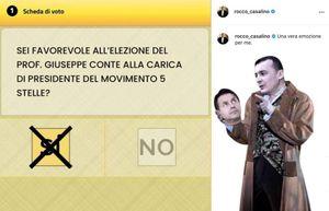 rocco casalino, che non si trattiene e posta su instagram la scheda del voto per la..