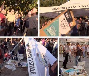 un gruppo di manifestanti anti-green pass assalta un gazebo del movimento 5 stelle