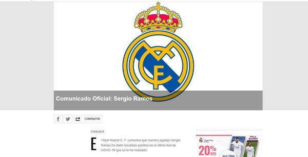 Real Madrid: Sergio Ramos positivo al Covid
