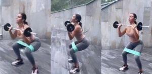 Georgina Rodriguez: workout casalingo con squat e bilanciere