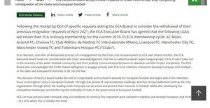L'Eca comunica: