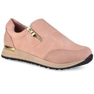 Ροζ sneakers με φερμουάρ Let's Walk JN44-13