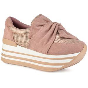 Ροζ δίπατα sneakers με φιόγκο Let's Walk JN44-11