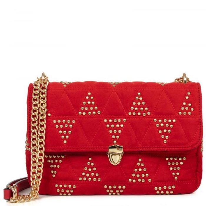 Κόκκινη τσάντα ώμου με τρουκς