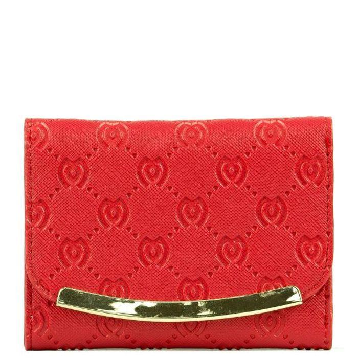 Κόκκινο πορτοφόλι με ανάγλυφο M