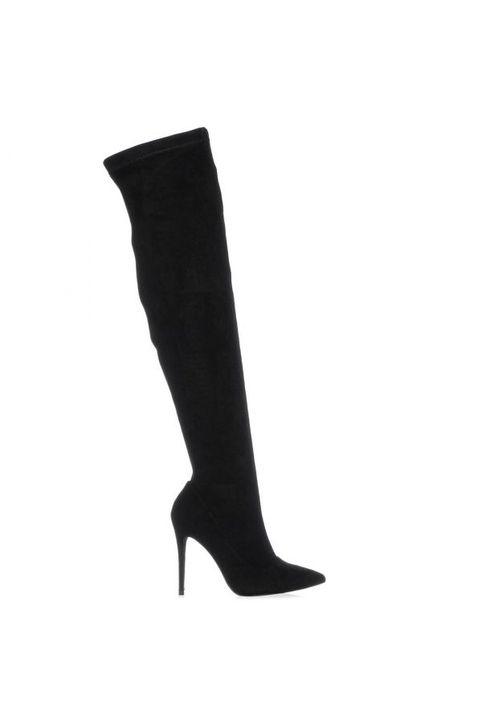Μαύρη σουέντ μπότα πάνω απο το γόνατο