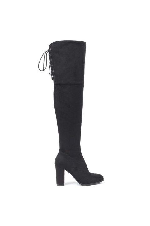 Μαύρη σουέντ μπότα πάνω από το γόνατο