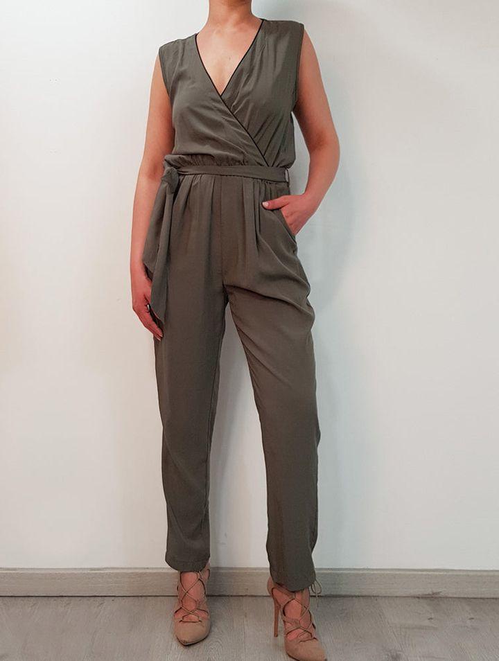 Χακί κρουαζέ ολόσωμη φόρμα Chica Loca