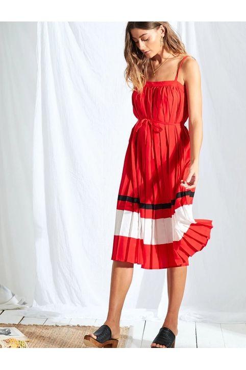 Κόκκινο πλισέ midi φόρεμα