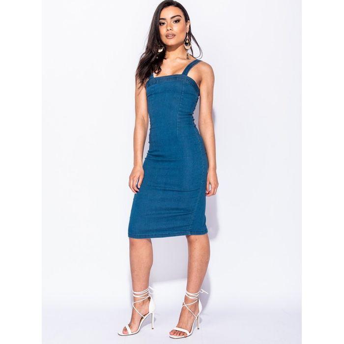 Denim midi φόρεμα
