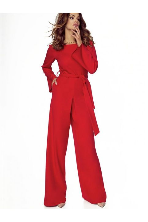 Κόκκινη ολόσωμη φορμα με κρουαζέ πλάτη