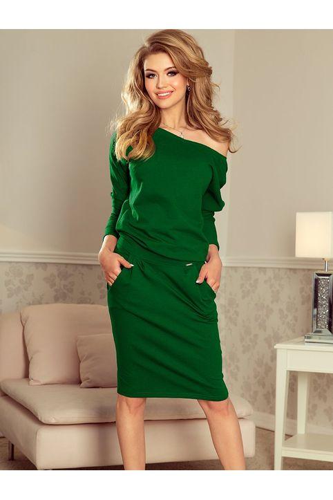 Πράσινο casual midi φόρεμα