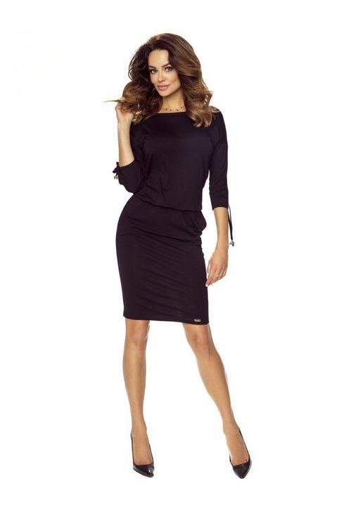 Μαύρο casual midi φόρεμα