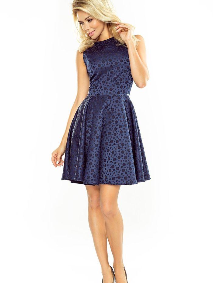 Μπλε πουά mini skater φόρεμα