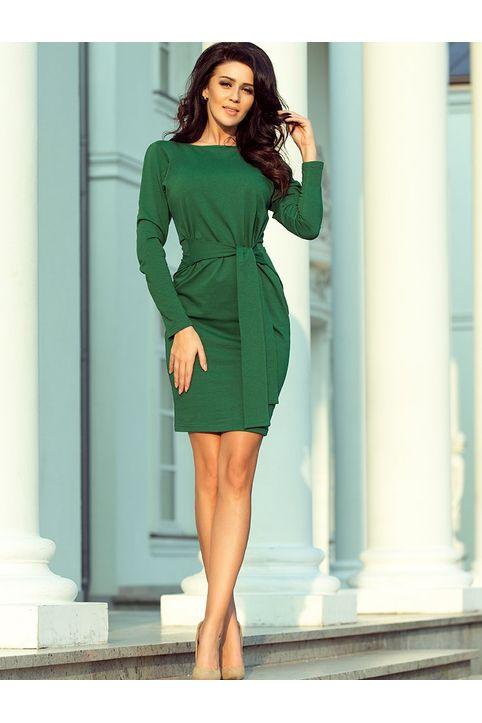 Πράσινο casual mini φορεμα με ζώνη