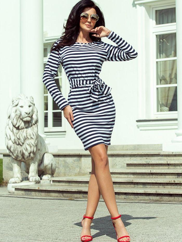Ριγέ casual mini φόρεμα με ζώνη
