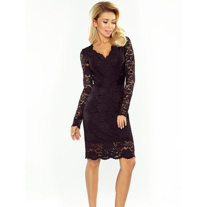 Μαύρο midi δαντελένιο φόρεμα