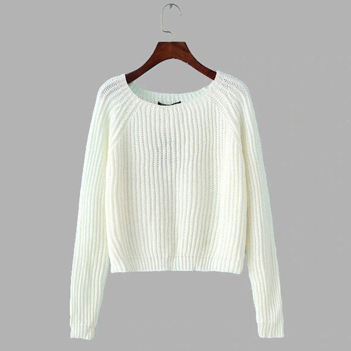 Άσπρο κοντό πουλόβερ DEBORAH WHITE