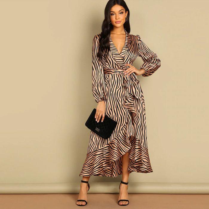 Ασύμμετρο χρωματιστό φόρεμα PHYLLIS