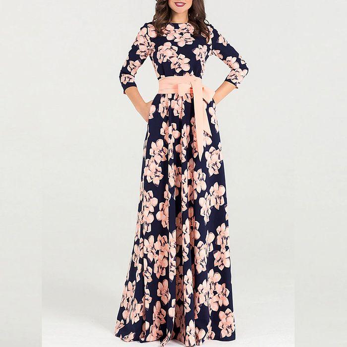 Μακρύ μπλε φλοράλ φόρεμα ALICIA PINK
