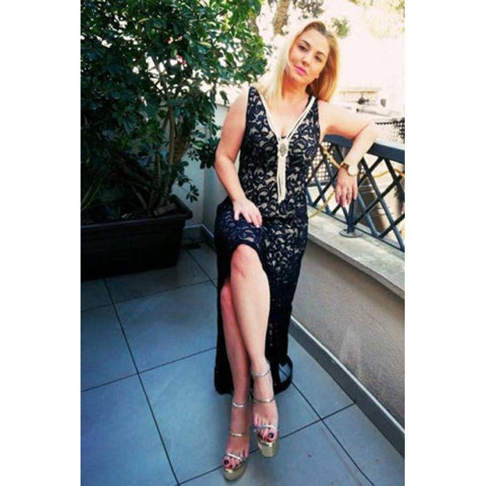 Φόρεμα δανδέλας ασύμμετρο με μενταγιόν