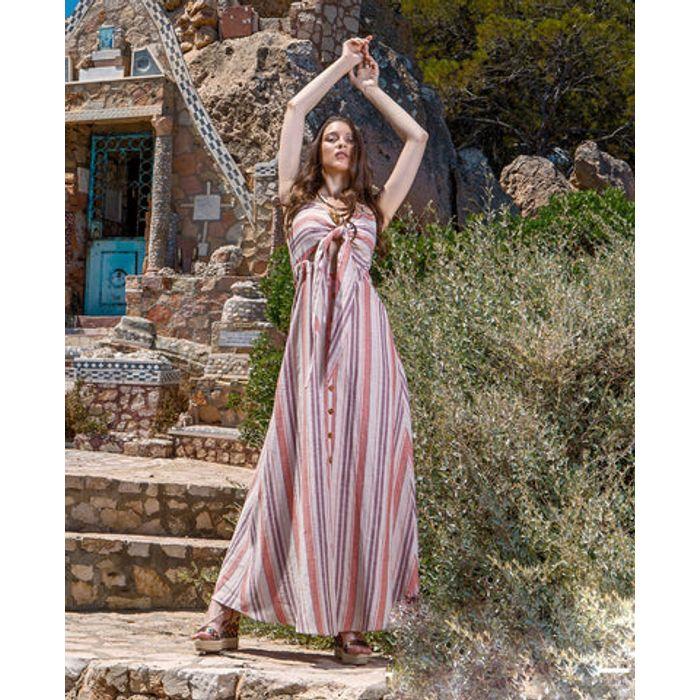 Φόρεμα maxi με δέσιμο στο μπούστο
