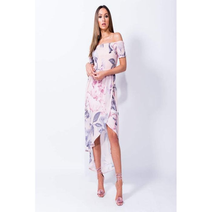 Φόρεμα με σφηκοφωλιά στο μπούστο floral