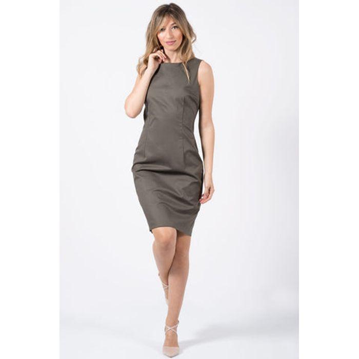 Φόρεμα midi αμάνικο βαμβακερό