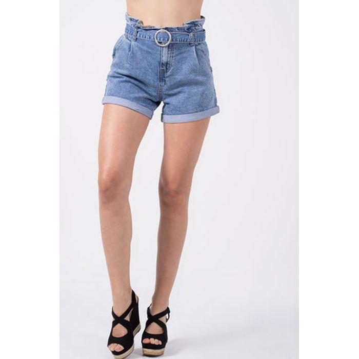 Shorts Jeans ψηλόμεσο βαμβακερό