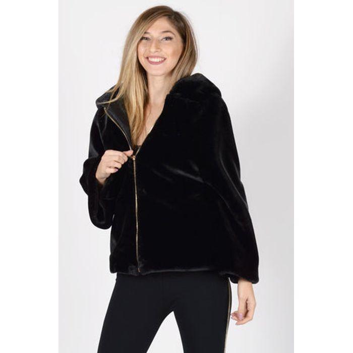 Γούνινο Jacket με κουκούλα