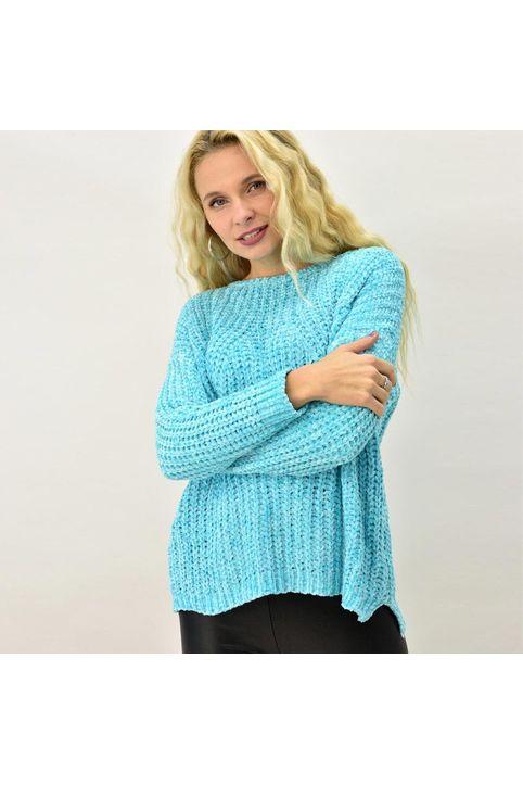 Γυναικεία μπλούζα σενίλ με διάτρητο σχέδιο