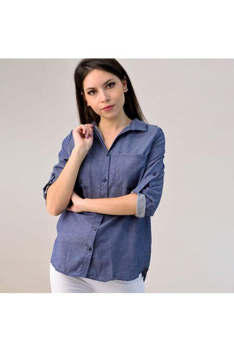 Γυναικείο plus size πουκάμισο τύπου τζιν