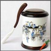D百年老店紅木工藝品紫檀木鑲骨瓷茶葉罐茶葉筒茶葉盒