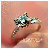 大米熊家】意大利進口工藝一克拉鑽石紅寶石群鑲鑽女戒指