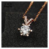 鑽石項鏈可定制18K黃金鎖骨鏈玫瑰金鑽墜子女款奢華鑽閃耀正品