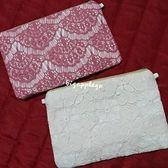 清空間全新泰國帶回市集手工製作蕾絲花紋小手拿/側背包(附鍊)