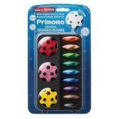 日本製Primomo普麗貓無毒蠟筆12色花形幼兒蠟筆安全無毒花型(附花形橡皮擦)