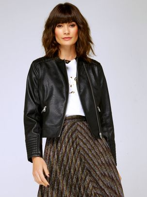 Women's Ladies faux leather collarless biker jacket asymmetric zip pockets quilted cuffs