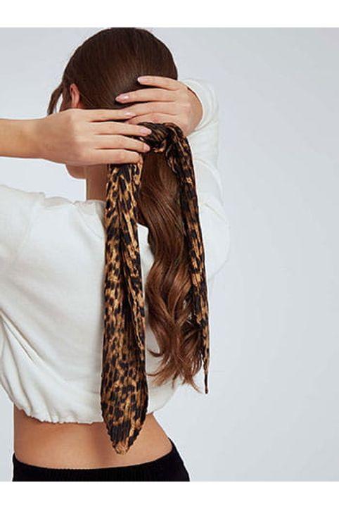 Λεοπάρ λαστιχάκι μαλλιών με πλισέ μαντήλι SH0673.A921+1