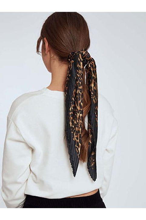 Λεοπάρ λαστιχάκι μαλλιών με πλισέ μαντήλι SH0673.A971+1