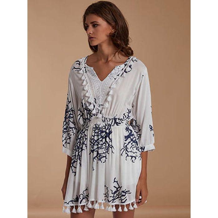 Φόρεμα καφτάνι με φουντάκια SH9845.8322+5