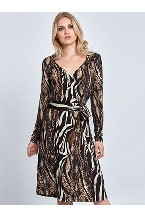 Midi φόρεμα σε animal print WL8435.8003+2