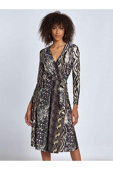 Midi κρουαζέ φόρεμα σε animal print WL8438.8001+2