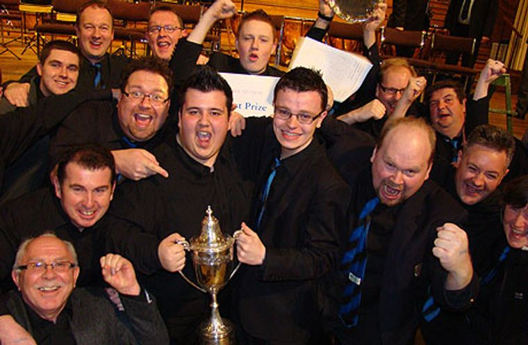 Burry Port Band celebrate winning the Welsh Area title