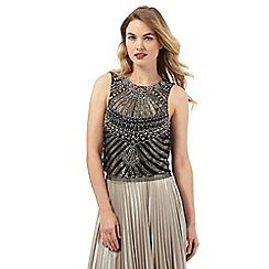 008010742460: Black and silver embellished sleeveless top