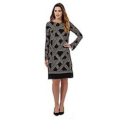 038020780960: Black lattice print dress