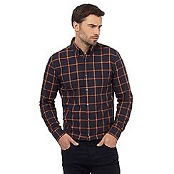 044010760443_BT: Big and tall navy checked print regular fit shirt